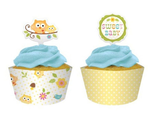 Happi Tree Baby Shower Sweet Baby Owl Decor 12 ct Cupcake Wrappers Picks