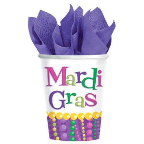 Mardi Gras Beads Party Celebration 9 oz Cups Hot cold 8 ct Decor