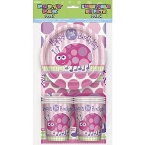 1st Birthday Pink Ladybug Party Pack 8 guests Plates Cups Napkins Tablecover