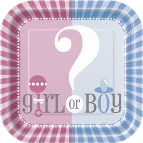 """Gender Reveal Party Girl Boy ? Baby Shower Large Lunch Plates 9"""""""