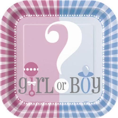 "Gender Reveal Party Girl Boy ? Baby Shower Cake Dessert Plates 7"""