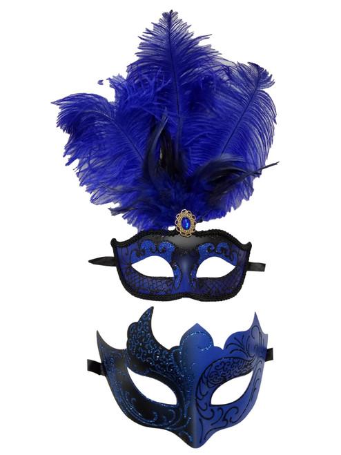 Blue Black Couples Man Woman Masquerade Mardi Gras Male Female Set Feather Masks