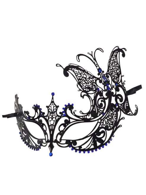 Black Blue Crystal Butterfly Laser Cut Venetian Mask Masquerade Metal Filigree