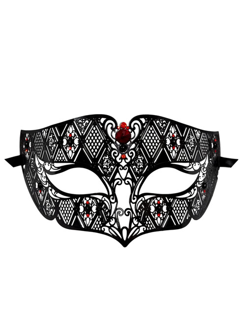 Black Red Male Diamond Design Laser Cut Venetian Masquerade Metal Mask Men