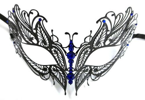 Black Blue Crystal Butterfly Eyes Laser Cut Venetian Mask Masquerade Metal Filigree