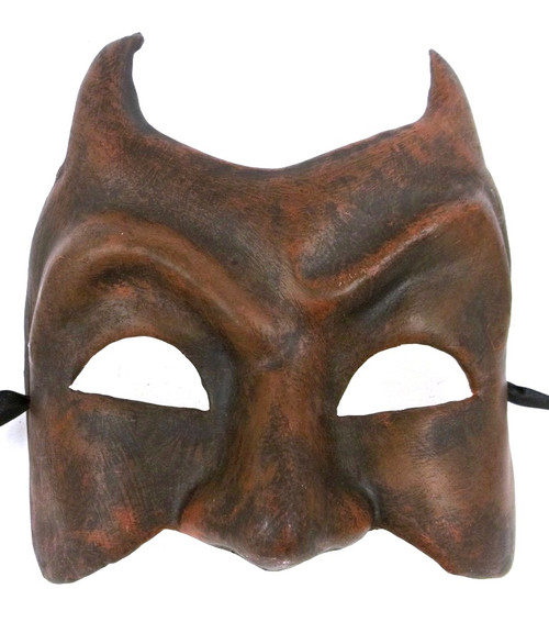 Evil Dark Red Devil Horns Paper Mache Halloween Mardi Gras Mask