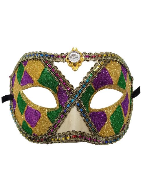 Purple Green Gold Harlequin Jewel Mardi Gras Masquerade Mask