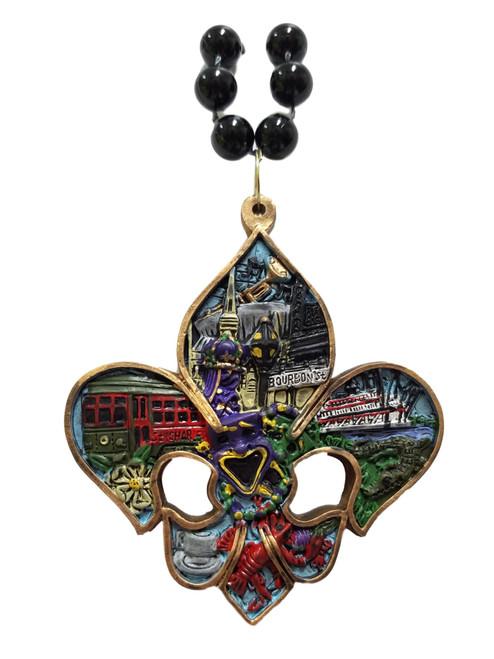 Fleur De Lis New Orleans Scenes Necklace Mardi Gras Bead Beads