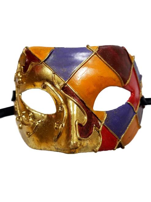 Gold Foil Orange Red Purple Harlequin Masquerade Paper Mache Mardi Gras Mask