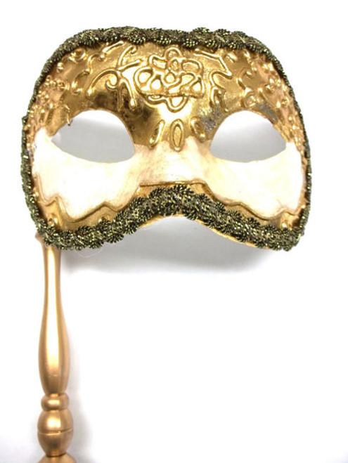 Gold Leaf Off White Antique Masquerade Mask Paper Mache Mardi Gras Stick