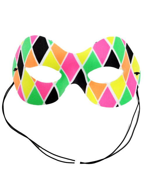 Harlequin Diamond Pink Green Yellow Orange Black Fabric Mask Masquerade
