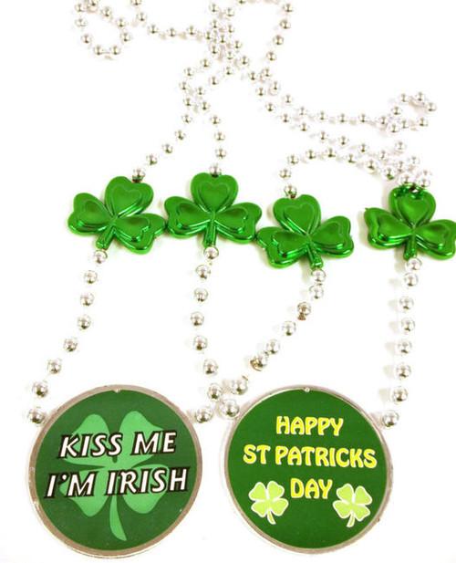 Kiss Me I'm Irish Happy St Patrick's Day Greeting Mardi Gras Bead Necklace
