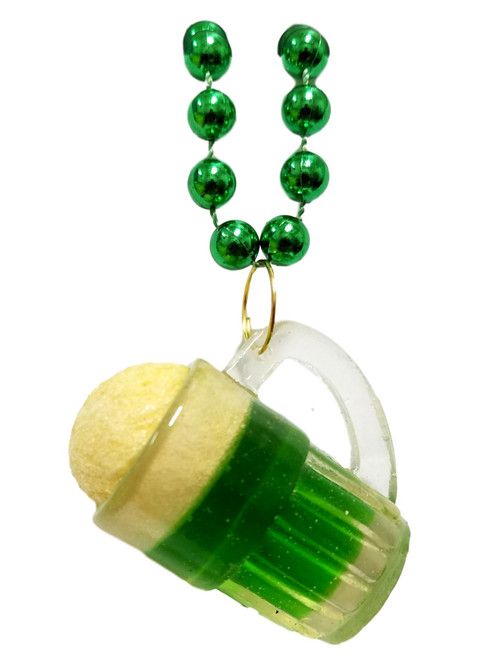 Green Beer Mug St Patrick's Day Mardi Gras Bead Necklace