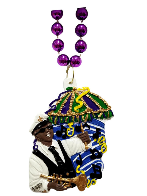 2nd line Jazz Band Horn Parasol New Orleans Music Mardi Gras Bead Bourbon Street