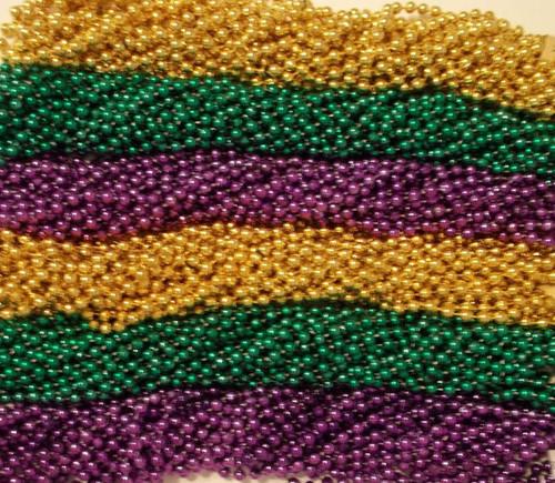 """600 Metallic 33"""" Asst Colors Mardi Gras Beads Purple Green Gold"""
