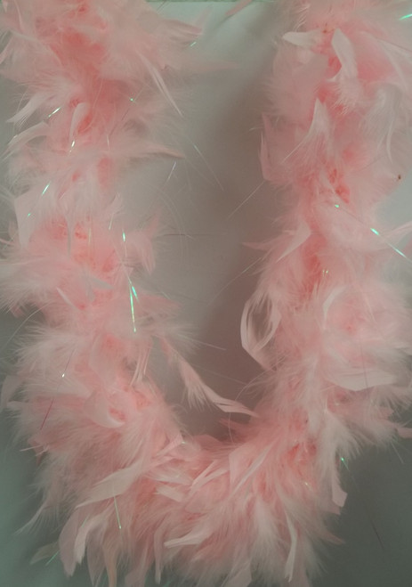 """Candy Pink Opal Tinsel 60 Gm Chandelle Feather Boa 72"""" 6 Ft Masquerade or Shower"""