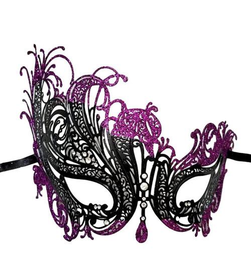 Black Purple Swan Rhinestone Laser Cut Venetian Mask Masquerade Metal Filigree