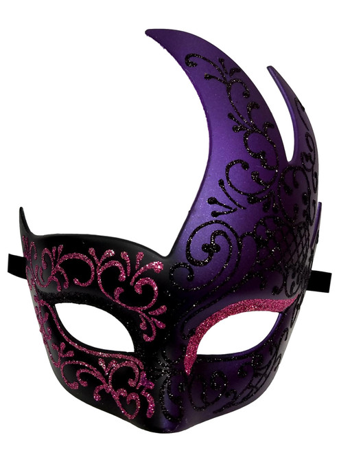 Black Purple Masquerade Swirl Flame Mask Mardi Gras Ball Dance Prom