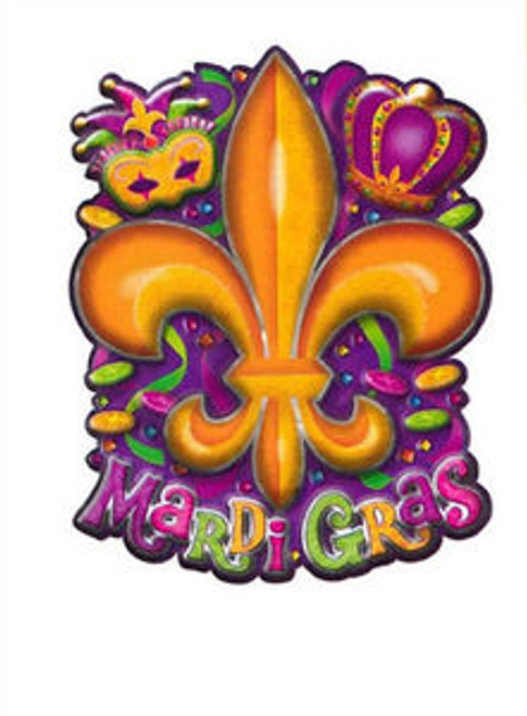 Mardi Gras 3 D Cutout Metallic Decor 6 pc XLG  20 X 15 Crown Mask Fleur De Lis
