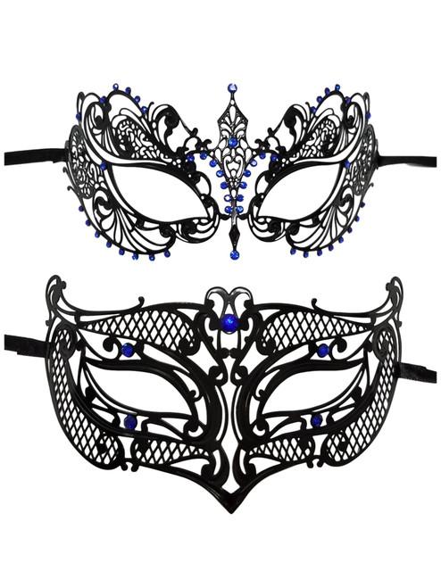 Couples Male Female Black Blue Laser Cut Venetian Masquerade Metal Mask Jewels