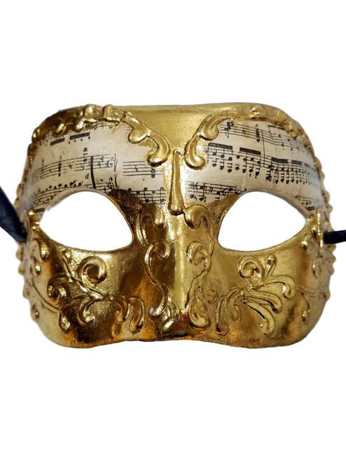 Gold Music Motif Masquerade Paper Mache Mardi Gras Mask