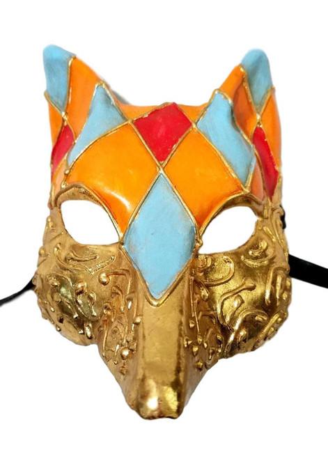 Venetian Fox Gold Orange Blue Red Masquerade Mardi Gras Mask Halloween