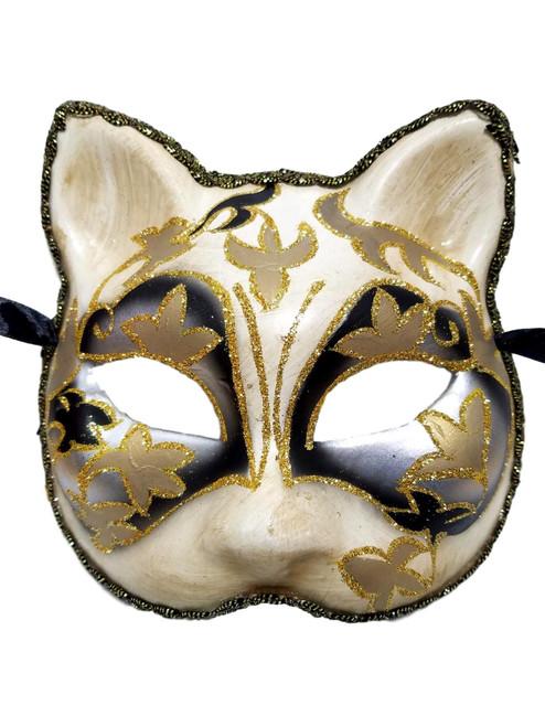 Cat Mask Silver Black Paper Mache Masquerade Mardi Gras Halloween