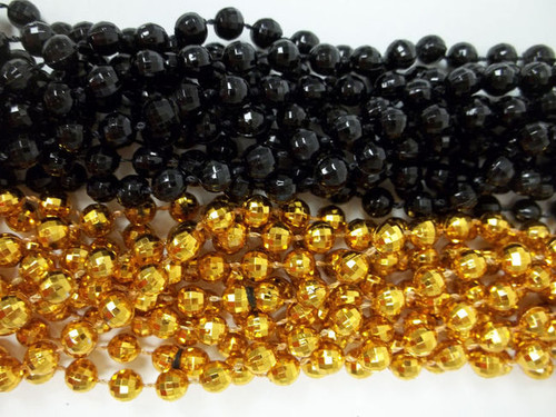 48 New Orleans Saints Disco Ball Mardi Gras Beads Party Favors Necklace 24 Black 24 Gold