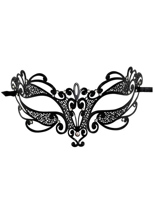 Swirl Black Laser Cut Venetian Masquerade Metal Filigree Mask Rhinestones