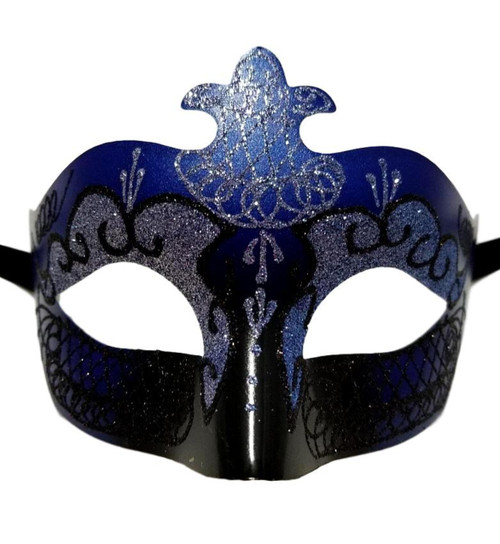 Blue Black Scroll Venetian Mask Masquerade Costume Prom Dance Men Woman