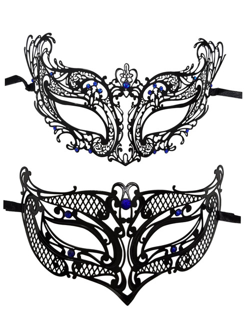 Black Blue Masquerade Mardi Gras Masks Male Female Couple Set Metal Man Woman