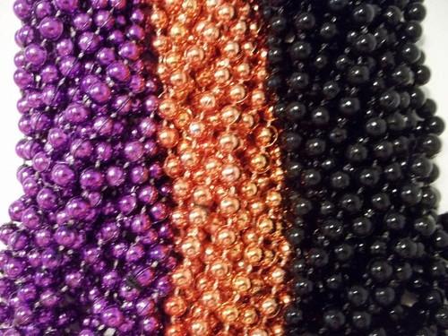 36 Mardi Gras Beads Party Favors Halloween Necklace Purple Orange Black 3 dozen