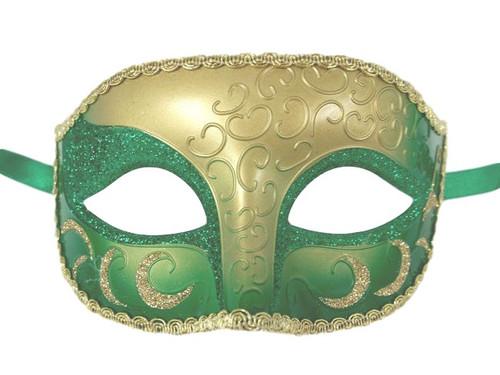 Green Gold Venetian Mardi Gras Masquerade Crescent Elegant Mask
