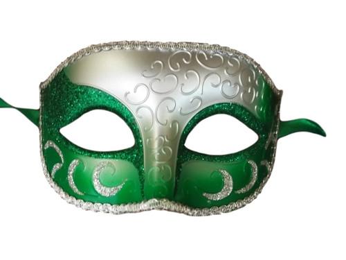 Green Silver Venetian Mardi Gras Masquerade Crescent Elegant Mask