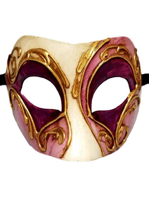 Purple Gold Colombina Masquerade Mardi Gras Mask Italy Italian Venetian Made