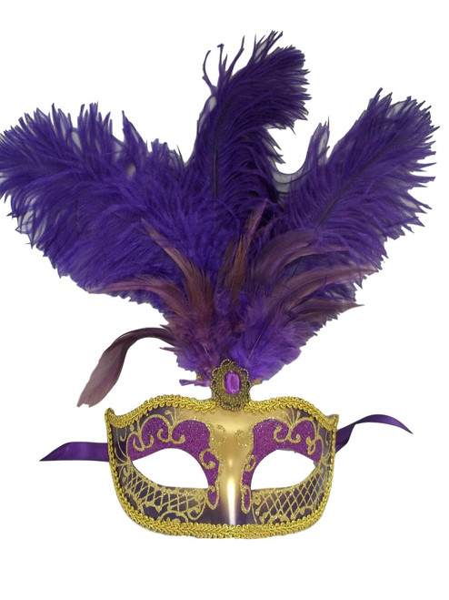 "Purple Gold Feather Venetian Mask Masquerade Mardi Gras Jewel Gem Mask 12"""