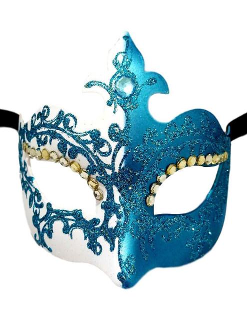 Turquoise Crystal Fleur De Lis Masquerade Mardi Gras Mask Italy Italian Venetian Made
