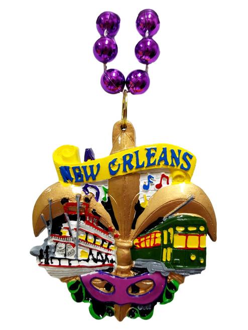 New Orleans Fleur De Lis Streetcar Mardi Gras Necklace Beads Bead