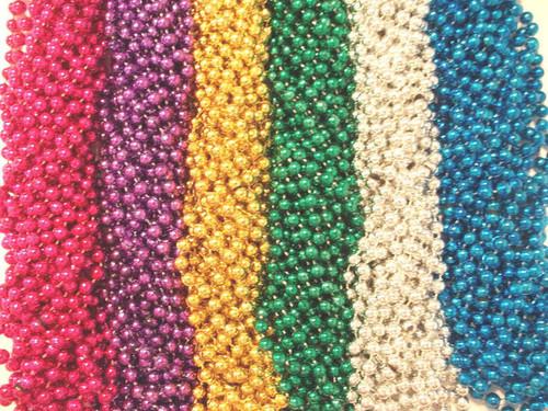 """240 6 Color Mardi Gras Gra Beads Necklaces Party Favors Huge Lot 20 Dozen 33"""""""