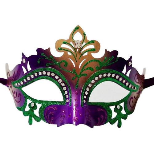 Purple Green Gold Mardi Gras Princess Crystal Masquerade Mask Laser Cut