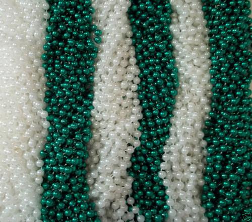 48 Green White St. Patricks Day Mardi Gras Beads Party Favors Necklaces 4 Dozen