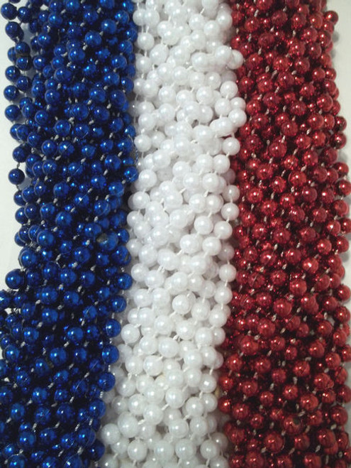 144 Red White Blue Memorial Day Mardi Gras Beads Necklaces Party Favors Huge lot