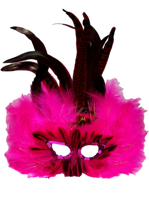 Hot Pink Glow Feather Masquerade Mardi Gras Costume Ball Prom Mask