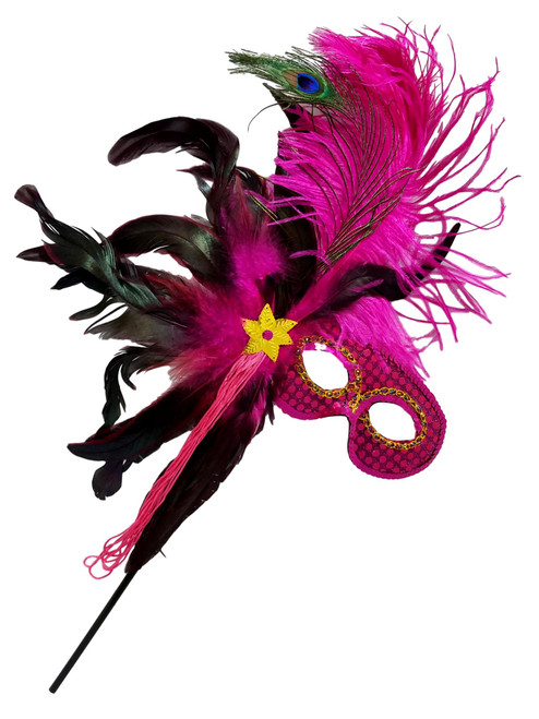 Hot Pink Fushia Feather Masquerade Ball Decor Mardi Gras Party Stick Mask