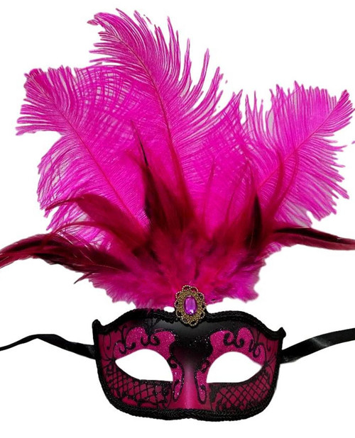 Hot Pink Black Venetian Mask Feather Masquerade Mardi Gras 12""