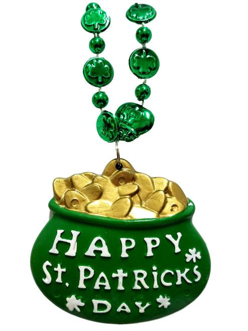 "Green Happy St Patrick's Day ""Pot Of Gold"" Mardi Gras Bead Necklace Shamrock"
