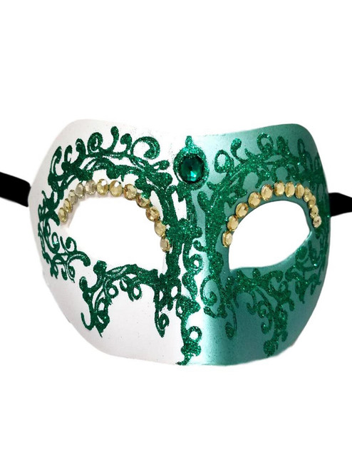Green Crystal Colombina Masquerade Mask Italy Italian Venetian