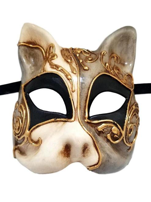 Gray Black Gold Gatto Cat Masquerade Mardi Gras Mask Italy Italian Venetian Made