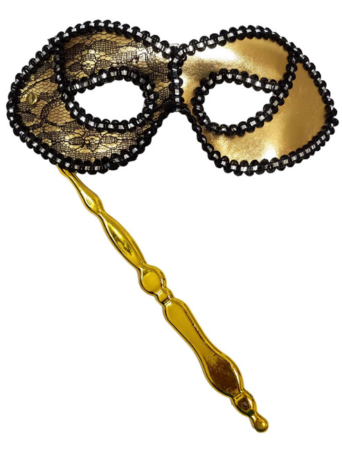 Gold With Black Opera Stick Lace Mask Masquerade Party Mardi Gras Halloween