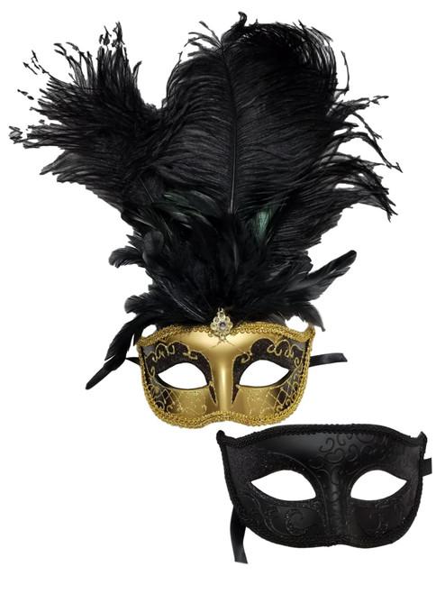 Gold Black His Hers Combo Masquerade Couples Mardi Gras Masks